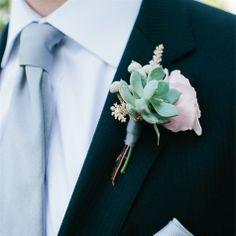 succulent boutenierre - make the flower purple.  Very pretty w/ the blue