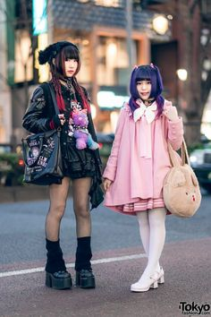 Harajuku girls sporting chic all black and all pink streetwear styles while out and about on the street. Japan Street Fashion, Tokyo Street Style, Tokyo Fashion, Harajuku Fashion, India Fashion, Fashion Mode, Aesthetic Fashion, Lolita Fashion, Cute Fashion