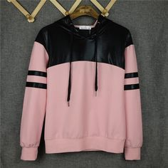 Black UP Patchwork Cute Pink Hooded Cotton Plus Size Harajuku Sweatshirt sudaderas mujer casual Brand Tracksuit