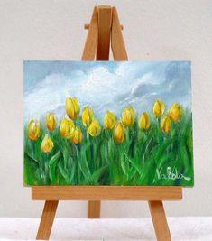 Yellow tulips in the Field 3x4original oil by valdasfineart