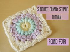Sunburst granny square tutorial round 4 in UK terms with US references throughout EXPAND FOR MORE DETAILS round one: https://www.youtube.com/watch?v=l03jtVTx...