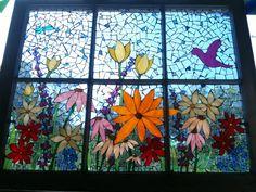 6-pane mosaic flower window