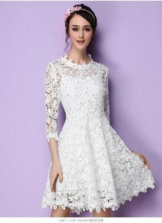 Long Sleeve Beaded White Lace Dress