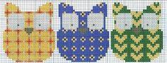 Cross stitch - raccolta di piccoli gufi colorati