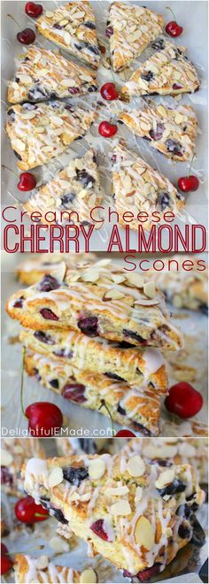 Stuffed with fresh cherries, sliced almonds, and drizzled with a cream cheese glaze, these flaky scones are fantastic with your morning coffee!  Perfect for breakfast, this super-easy scone recipe uses butter, along with cream cheese to keep the dough wonderfully moist and tender, and completely delicious!