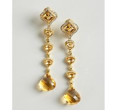 Sablina citrine and white sapphire linear drop earrings