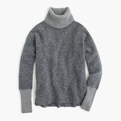 Relaxed fleece turtleneck with cashmere trim : sweaters | J.Crew