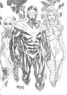 Phoenix Five by Fred Benes (Marvel comics) Black White Art, Black And White Drawing, Marvel Art, Marvel Comics, Comic Book Drawing, Comics Toons, Batman, Anatomy Art, Comic Book Artists