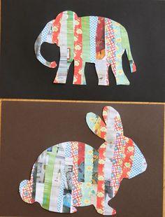 Crafting with children: paper strip animal silhouettes. Crafting with children: paper strip animal silhouettes. Easy Crafts For Kids, Fun Crafts, Art For Kids, Paper Crafts, Kids Diy, Crafts With Fabric, Craft Kids, Toddler Artwork, Magazine Crafts