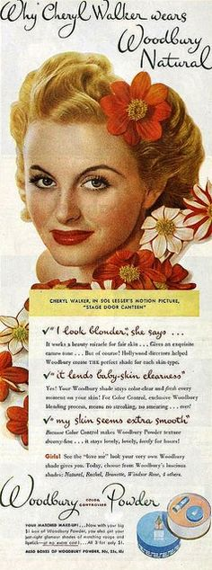 Cheryl Walker for Woodbury Powder, April 1944. vintage #1940s #makeup #beauty