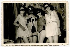 party, party by unexpectedtales, via Flickr Vintage Witch Photos, Vintage Halloween Photos, Vintage Photographs, Black Masquerade Mask, Mask Party, Party Party, Vintage Party, Animal Party, Party Animals