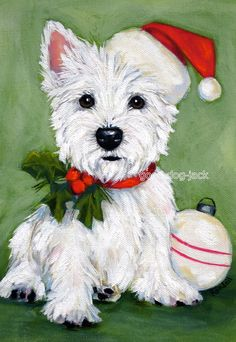 Westie Christmas Print West Highland Terrier Dog by GoodDogJack