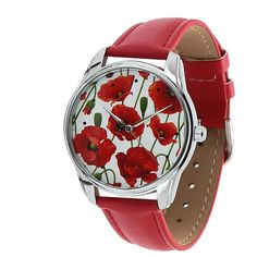 Unisex Watch for Men and Women. POPPIES Watch Red. от ArinaDeco