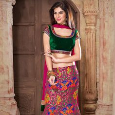 Dark Pink Art Brocade Readymade Lehenga Choli with Dupatta (1) Couture  Indiana 572c2234a4f