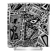 """Geometric Doodle Shower Curtain at http://fineartamerica.com/products/geometric-doodle-sarah-loft-shower-curtain.html.  This shower curtain is made from 100% polyester fabric and includes 12 holes at the top of the curtain for simple hanging.  The total dimensions of the shower curtain are 71"""" wide x 74"""" tall.  $65"""