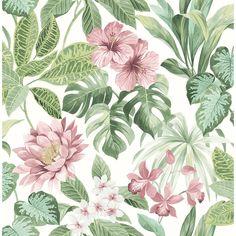 Brewster 56.4 sq. ft. Josefa light green Tropical Wallpaper