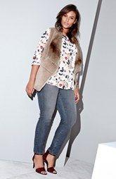 Kristen Blake Faux Sherling Vest, NYDJ Top & Skinny Jeans (Plus Size)