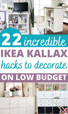 Are you looking for ideas for an Ikea kallax makeover? Try these awesome Ikea expedit hack and ideas for TV stand, bench seat, desk or a bookshelf on a small budget! Ikea Hack Storage, Kallax Shelving, Ikea Kallax Hack, Ikea Decor, Ikea Dresser, Ikea Bedroom, Ikea Kitchen, Decorating On A Budget, Interior