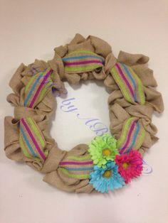 "Gerber Daisy Burlap Wreath, Pink, Blue, Green 14"" on Etsy, $40.00"