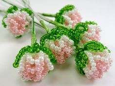 Vintage French Beaded Flower Buds Pearly Pink and by TUTreasures, $12.50