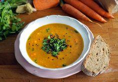 Polévka ze Žlutého Hrášku s Kari, Batáty a Mrkví   Veganotic