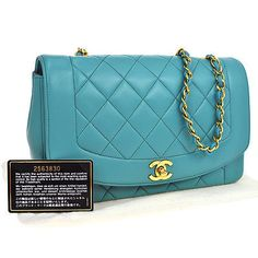 Auth-CHANEL-Quilted-CC-Logos-Chain-Shoulder-Bag-Light-Blue-Leather-VTG-NR03988