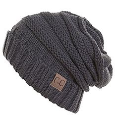 Thick Slouchy Knit Unisex Beanie Cap Hat, One Size, Charcoal at Amazon Women's Clothing store: