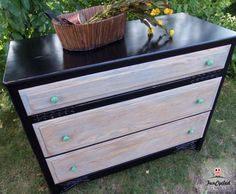 Black dresser with grey washed drawers and Kelly green knobs by FunCycled.  www.funcycled.com