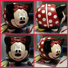 Puerquito grande Alcancia  Minnie grande Mickey Mouse, Diana, Plastering, Craft, Frases, Chocolate Bouquet, Decorative Boxes, Pigs, Craft Videos