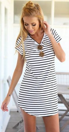We never go out of style with stripes. This dress would be your wardrobe stable. Tap this picture, then you will find what you want at Jassieline.com