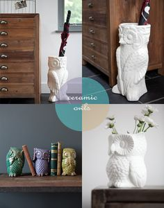 {White owl cookie jar, owl lamp, retro owl vase} {Owl umbrella stand, owl vase, see no evil hear no evil owls} Ceramic owl...