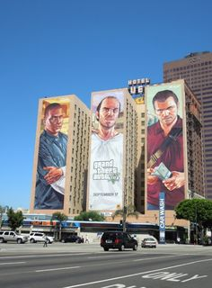 Giant Grand Theft Auto 5 video game billboards...