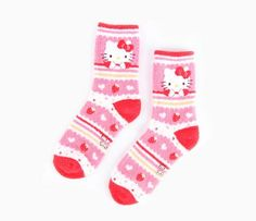 Hello Kitty Adult Crew Socks: Red - Item # 98439-201404 - Your feet will love these crew length sleep socks displaying Hello Kitty's image and strawberries. Soft, fuzzy and warm, the socks come in one size which fits most adults and juniors. - $5.50