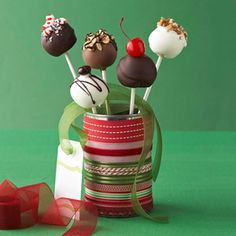 IT'S ON OUR CHRISTMAS LIST!    Holiday Cake Pops  Recipe from @Better Homes and Gardens    These petite cake pops will be a holiday hit with kids from 4 to 94. You will find lollypop sticks at craft stores and the cake decorating supply shelves of most discount stores.