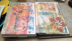 TIP: Cleaning off the brayer in your art journal and ghost printing straight into it give you bonus fun to work with later. Turn the journal over onto the plate, lift the pages until you as close to the page you are printing then rub the stack of papers.