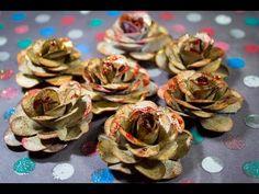 DIY - Como fazer Flores de papel p/ Scrapbook com Papel Kraft - YouTube