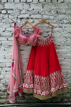 lehengas must like https://www.facebook.com/punjabisboutique Beautiful Red & Pink Embroidered #Lehenga.