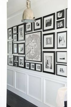 Home Decor Ideas Handmade Photo Gallery Wall. Hallway Foyer with Photo Gallery Wall. Black and white Photo Gallery Wall. Photowall Ideas, Style Me Pretty Living, Blogger Home, New Interior Design, Cosy Interior, Hanging Pictures, Hallway Pictures, Framed Pictures, White Houses
