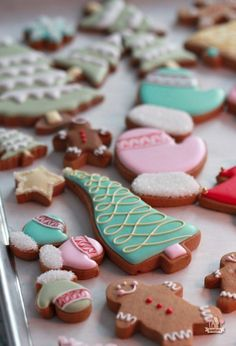 Colorful Christmas Decorated Cookies on Sweetopia