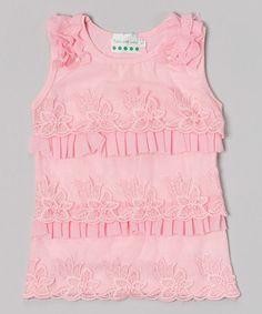 Look at this #zulilyfind! Pink Rhinestone Petal Bow Tank - Infant & Toddler #zulilyfinds