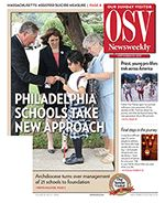 September 23 issue of OSV Newsweekly. Articles include: Philadelphia Catholic schools change management ... In Focus--End of Life Issues ... Editorial--Religious Liberty Alarms ... much more
