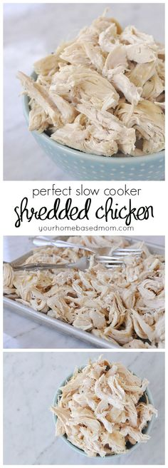 Cooker Shredded Chicken Make perfectly shredded chicken every time in the slow cooker! ~ Your Home Based MomMake perfectly shredded chicken every time in the slow cooker! ~ Your Home Based Mom Slow Cooker Huhn, Crock Pot Slow Cooker, Crock Pot Cooking, Slow Cooker Recipes, Crockpot Recipes, Cooking Recipes, Cooking Rice, Freezer Recipes, Cooking Bacon