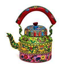 Multi Color Hand Painted Tea Pot in Aluminium (. Multi Color Hand Painted Tea Pot in Aluminium Madhubani Art, Madhubani Painting, Rajasthani Art, Indian Folk Art, Truck Art, Indian Art Paintings, Elephant Design, Turquoise, Creative Art