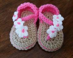 Crochet bebé niña sandalias verano Bebé flor por DolcelinaShop