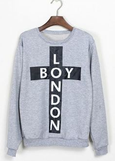 "Get layering with this light Grey ""Boy London"" Cross Print Sweatshirt #SheInside"