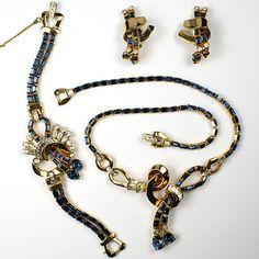 Mazer Bros Gold Sapphire Swirls Pendants Necklace Bracelet Earrings Set
