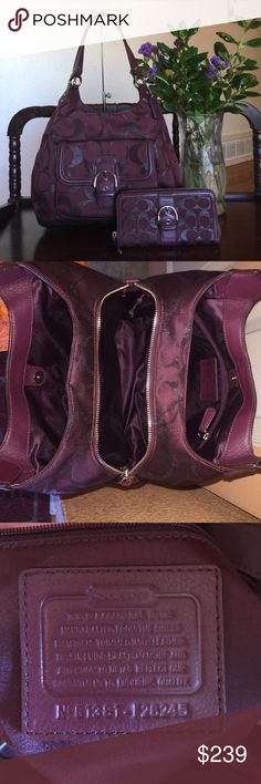 "CAMPBELL SIGNATURE METALLIC HOBO & WALLET CAMPBELL SIGNATURE METALLIC HOBO COACH F26245,Color:Burgandy/Bordeau/Maroon   Signature metallic sateen fabric with leather trim  Inside zip, cell phone and multifunction pockets  Zip-top closure, fabric lining  Outside snap pocket  Handles with 9"" drop  14 1/4"" (L) x 9"" (H) x 5"" (W)  This is a signature product,it comes with matching wallet.. both are used but in great condition..smoke/pet free, bag retail $428, wallet retail $278 Coach Bags Totes"