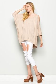 Cold Shoulder Bat Wing Knitted Top   T1005   Annabelle