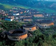 Chinese Hakka houses, the big clan of 1000 people live together.