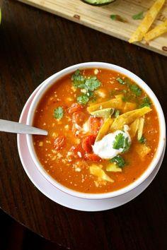 vegetarian tortilla soup http://www.thecurvycarrot.com/2013/04/01/vegetarian-tortilla-soup/